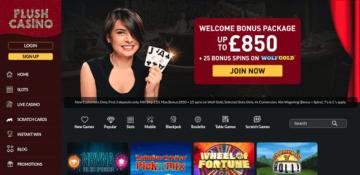 Plush Casino Homepage